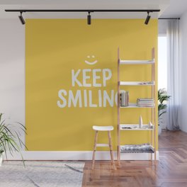 Keep Smiling Quote - Yellow Wall Mural