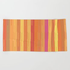 Orange and Yellow Stripes and Lines Abstract Beach Towel