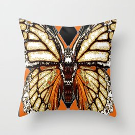 RIBBED WHITE BROWN & BLACK BUTTERFLY WING VEINS Throw Pillow