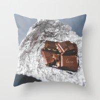 bar Throw Pillows featuring chocolate bar  by mb13