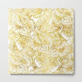 Elegant chic gold foil hand drawn floral pattern Metal Print