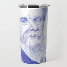 Charles Dickens Portrait In Blue Bic Ink Travel Mug