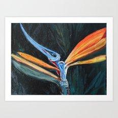 Bird of Paradise Macro Painting Art Print