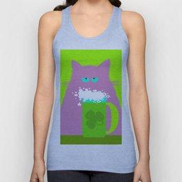 Saint Patrick's Day Lilac Cat Unisex Tank Top