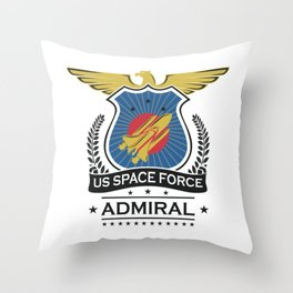 US Space Force Crew Member Art for Spaceship Admiral Light Throw Pillow
