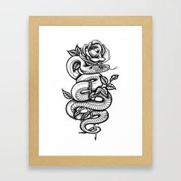 Snake and Rose Framed Art Print