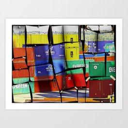 Colorful container wall board Art Print
