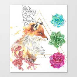 Fox with Succulents Canvas Print