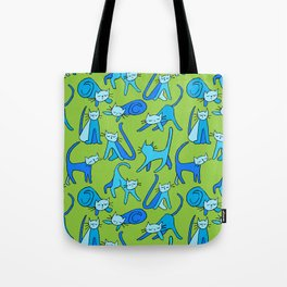 kitty kat (blue on green) Tote Bag