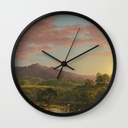 A New England Lake by Frederic Irwin Church Wall Clock