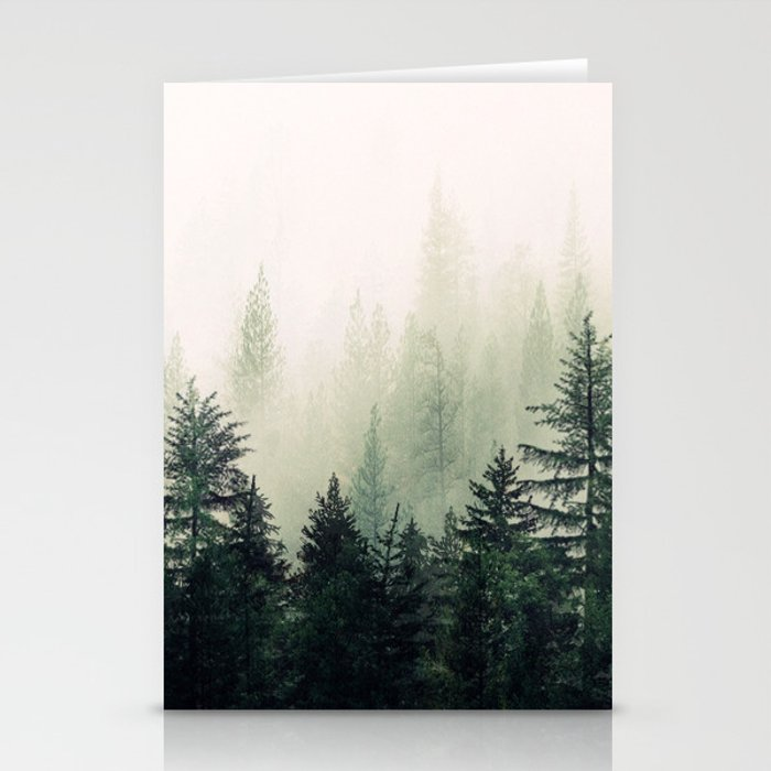 Foggy Pine Trees Stationery Cards