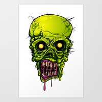 zombie Art Prints featuring Zombie by Lady Macabre Art