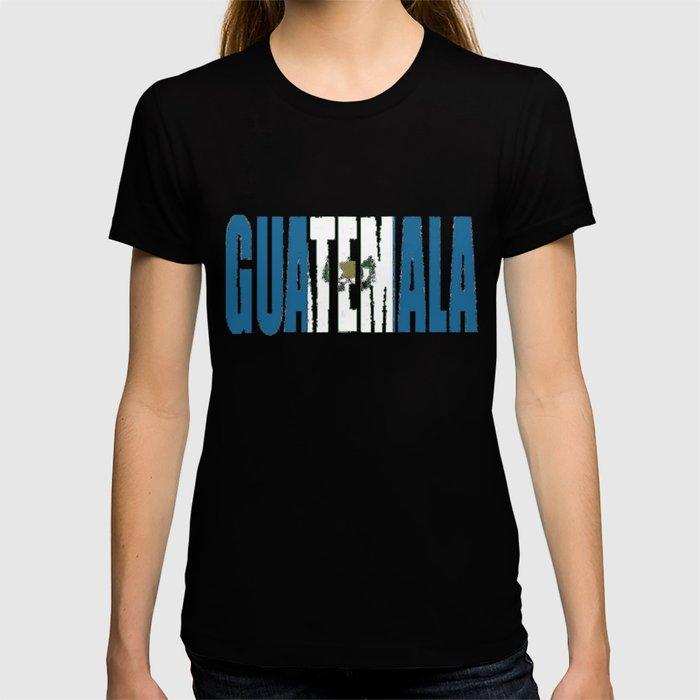 Guatemala Font with Guatemalan Flag T-shirt