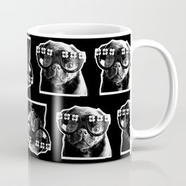 PUG SUKI - FLORAL GLASSES PATTERN - BLACK AND WHITE Coffee Mug