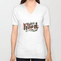 robin hood V-neck T-shirts featuring Robin Hood - The Great Work Begins Theatre Troupe by Typo Negative