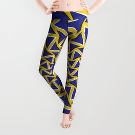 Optical motion illusion bitmap background. Blue arrows revolve circularly around the center on yellow background. Leggings