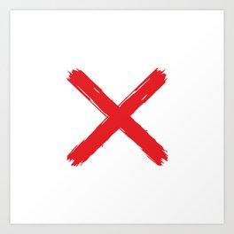 Red X on white background. #society6 #decor #buyart #artprint Art Print
