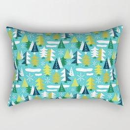 Trees - Xmas Pattern (Blue) Rectangular Pillow