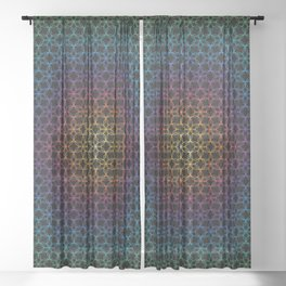 Rainbow Flower of Life Sheer Curtain