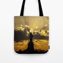 Statue of Liberty sunset in New York Harbor Tote Bag