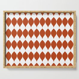 Geometric Vector Leaves in Rich Earth Tones Serving Tray
