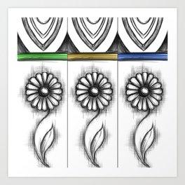 Triple Daisy Art Print