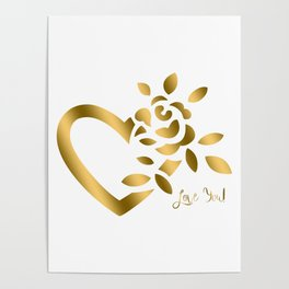 Gold Valentine Heart and Rose Poster