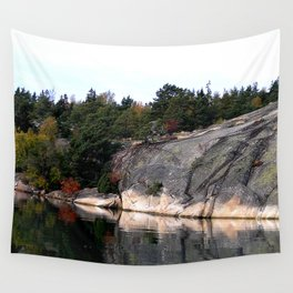 Fall Colors Accentuating Cliff Reflections Wall Tapestry