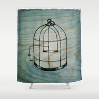 cage Shower Curtains featuring Bird Cage by BrittanyElyse
