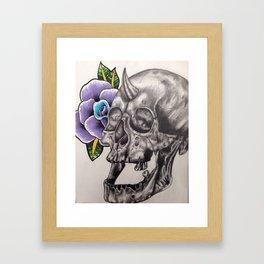 Skull and Rose Framed Art Print