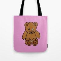 teddy bear Tote Bags featuring Teddy Bear by ArtSchool