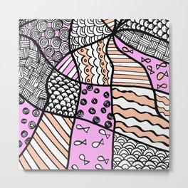 Doodle Art Drawing - Fishes and Waves - Black White Pink Metal Print