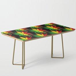 Marijuana Leaf Rasta Colors Dripping Paint Coffee Table