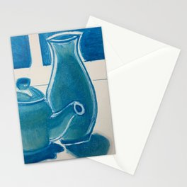 Tea Pot and Vase in Blue Stationery Cards
