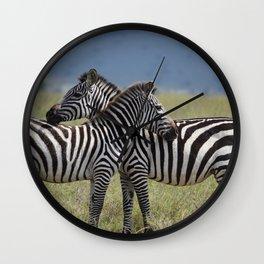 Serengeti Zebras I Wall Clock