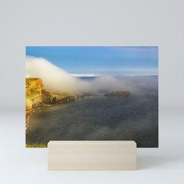 Saltwick Bay as the fog rolls in Mini Art Print