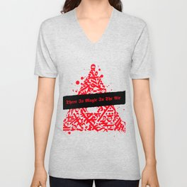 There Is Magic In The Air - Red Celtic Triangle Unisex V-Neck