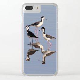 Black necked Stilt Clear iPhone Case