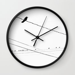 Birds on a wire in the winter Wall Clock