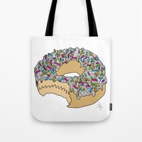 doughnut Tote Bags featuring Doughnut by Amber Lily Fryer
