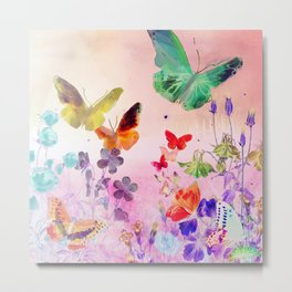 Blush Butterflies & Flowers Metal Print