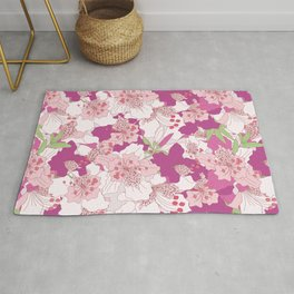 Rhododendron flowers cluster collage pattern Rug