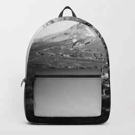 Mount St Helens Holga Black and white film photograph Backpack