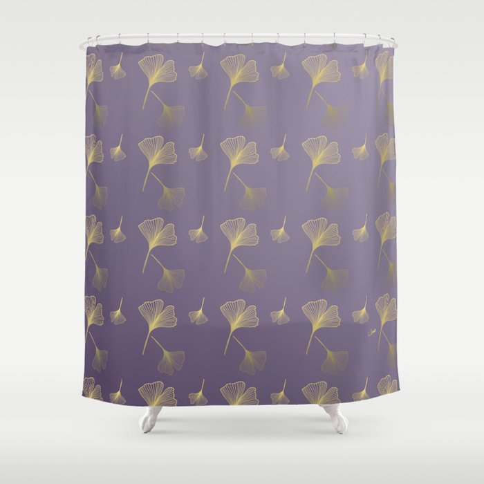 Ginkgo Purple Gold Shower Curtain By Suzannebrandtillustrations