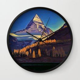 Rocky Mountains with Fir and Aspen Trees landscape painting by Rockwell Kent Wall Clock