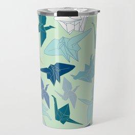 Paper Cranes- Green Travel Mug