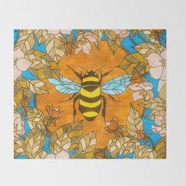 Bumblebee In Wild Rose Wreath Throw Blanket