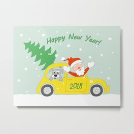 santa, dog and car 2018 Metal Print