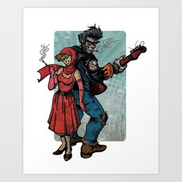 Ginny & Clutch (Little Red Riding Hood Reloaded) Art Print