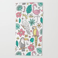 Tropical Jungle Birds Toucan Flamingo and Hibiscus Floral Flowers Leaves Paradise Beach Towel